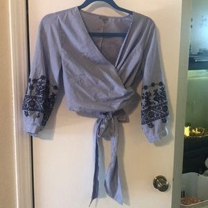 Charlotte Russe wrap around blouse size s